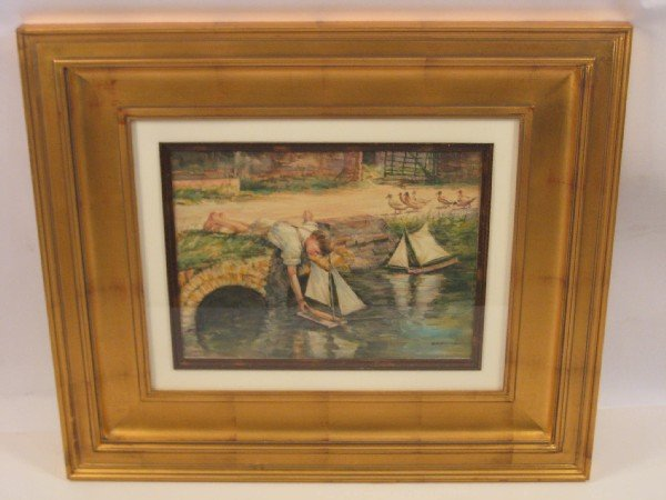"""1099: """"Boy with Pond Boats"""", watercolor."""