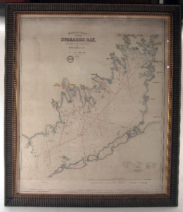 1109: Hand colored chart of Buzzard's Bay