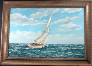 1056: Yacht painting by MG Friedrich (b. 1932)