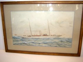 New York Yacht Club Steam Yacht Watercolor