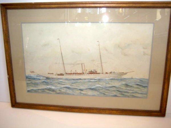 1050A: New York Yacht Club Steam Yacht Watercolor