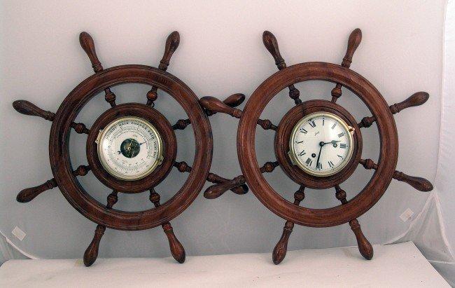 1002: Mid 20th century Schatz clock and barometer set