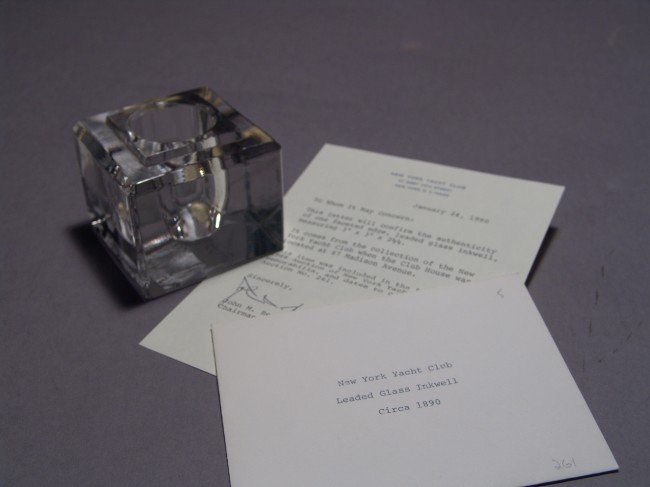 1015: Glass Inkwell from the New York Yacht Club