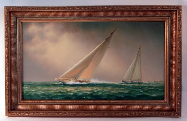 "1021: Oil on canvas ""Ranger leads Endeavour"""