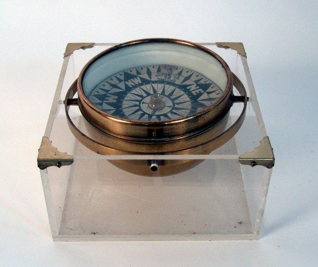 """1050: Early gimbaled compass from the steam yacht """"Aloh"""