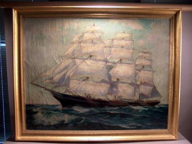 1064: Clipper ship painting by I. Chaney
