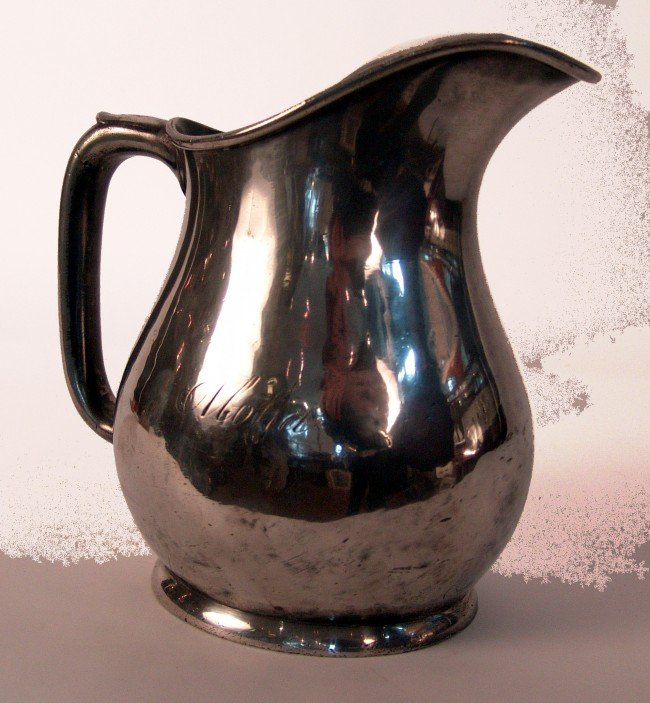 """1065: Silver plated pitcher from steam yacht """"Aloha""""."""