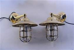 1098 Pair of solid brass companionway lamps