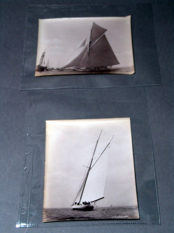 "1151: Two JS Johnston photos of Cup Yacht ""Defender"""
