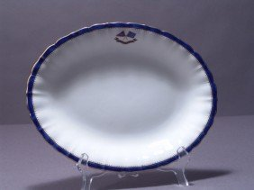 1009: Scalloped serving platter from J.P. Morgan's Flag
