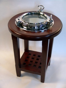 1010: Varnished porthole end table with nickel plated p