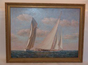 1014: Race Day yachting oil on canvas.
