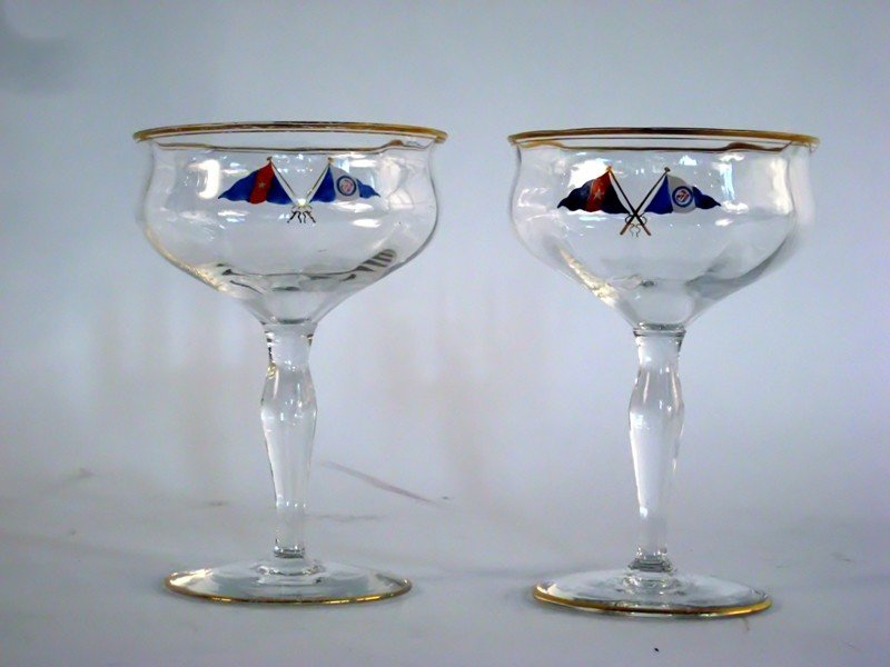 1015: Two champagne glasses from an Eastern Yacht Club