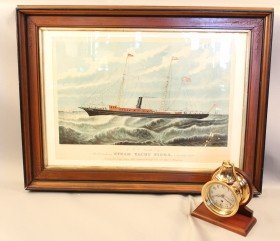"1148: Ship's bell clock & lithograph from ""Sigma"", 1897"