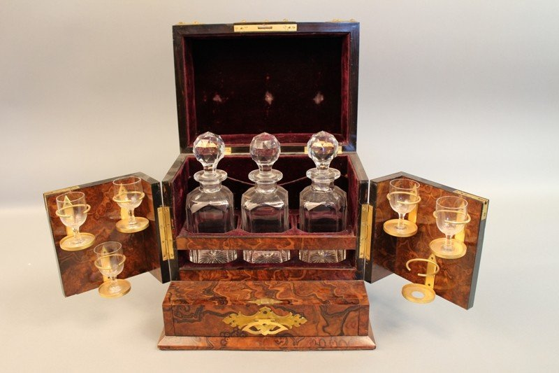 1151: 1870s, Tiffany & Co. burlwood veneer decanter set