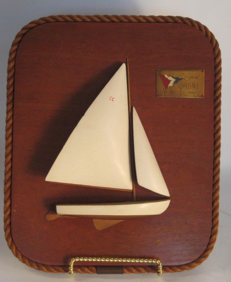 "8: Half model of the yacht ""Challenge""."