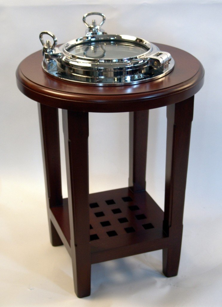 10: Varnished porthole end table with nickel plated por