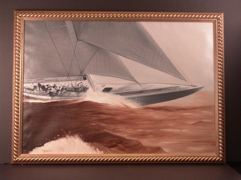 16: America's Cup yacht Rainbow painting.