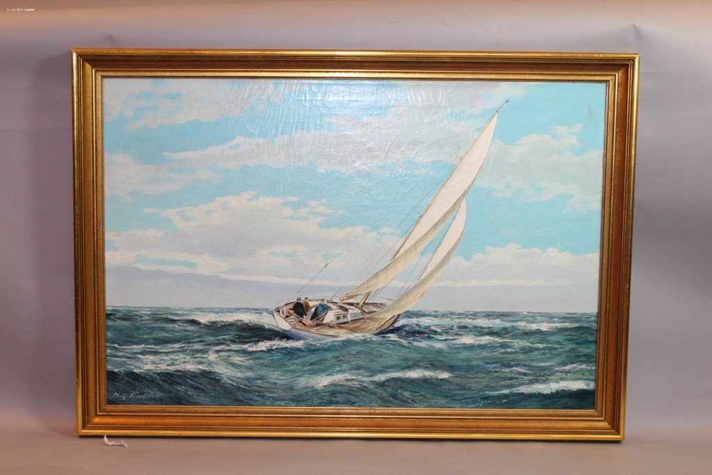 182: Oil on canvas by M.G. Friedrich, yachting scene.