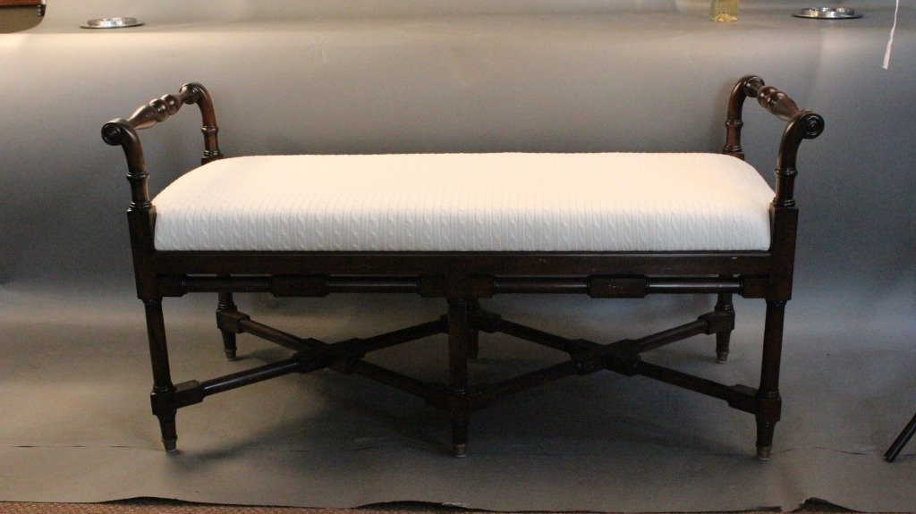 19: Carved mahogany bench with white fabric