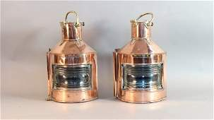 Copper ship's port and starboard lanterns.