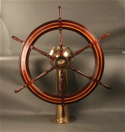 132: 19th century yacht wheel on pedestal
