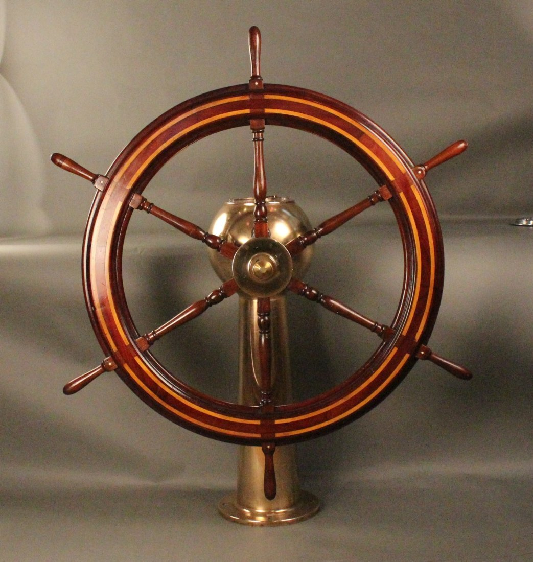 132: 19th century yacht wheel on pedestal