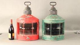Circa 1860 Ship Lanterns By Tufts, Boston