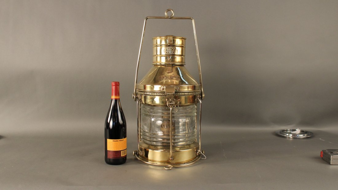 "Solid brass ship's ""anchor"" lantern"