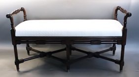 Carved mahogany bench with white fabric