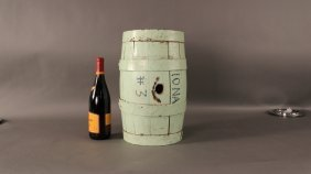 """Iron bound wood keg from whaler """"Iona""""."""