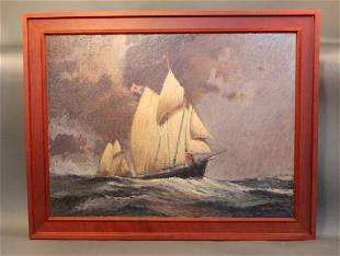 Impressionist painting of a schooner race