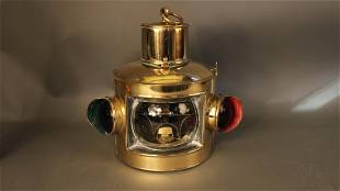 French yacht lantern, polished brass