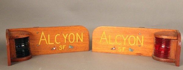 """Port and Starboard lights - yacht """"Alcyon""""."""