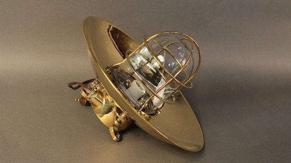 Ship's bulkhead light, polished brass