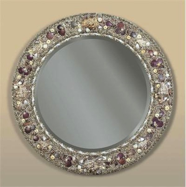 Inlaid round shell mirror