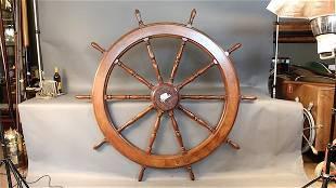 Six foot mahogany ship's wheel