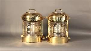 Pair of solid brass masthead lanterns