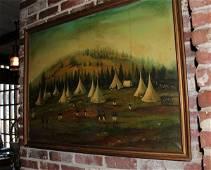 Oil on canvas of military encampment
