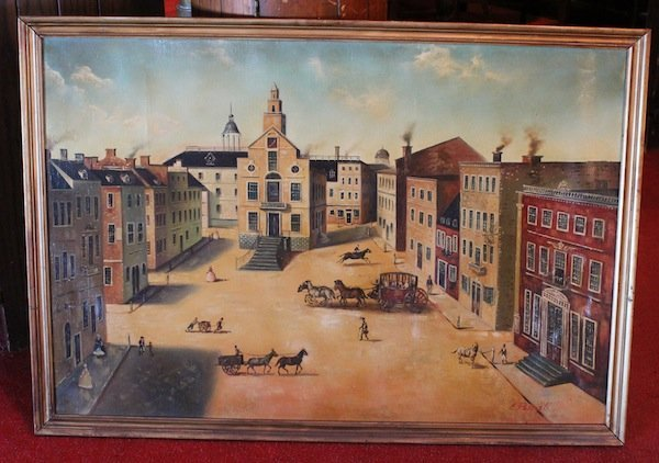 Oil on canvas of a town square
