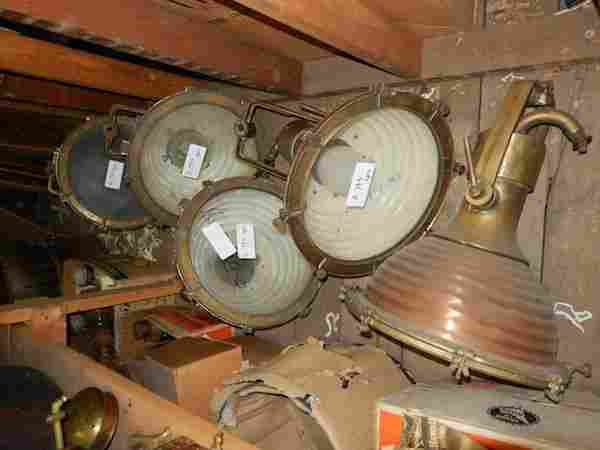 Five copper and brass ship's floodlights