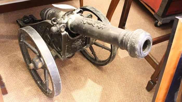 Iron cannon on carriage