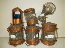Six various ship's lanterns