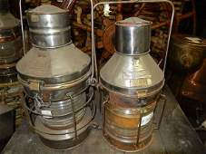 Pair of copper and brass anchor lanterns
