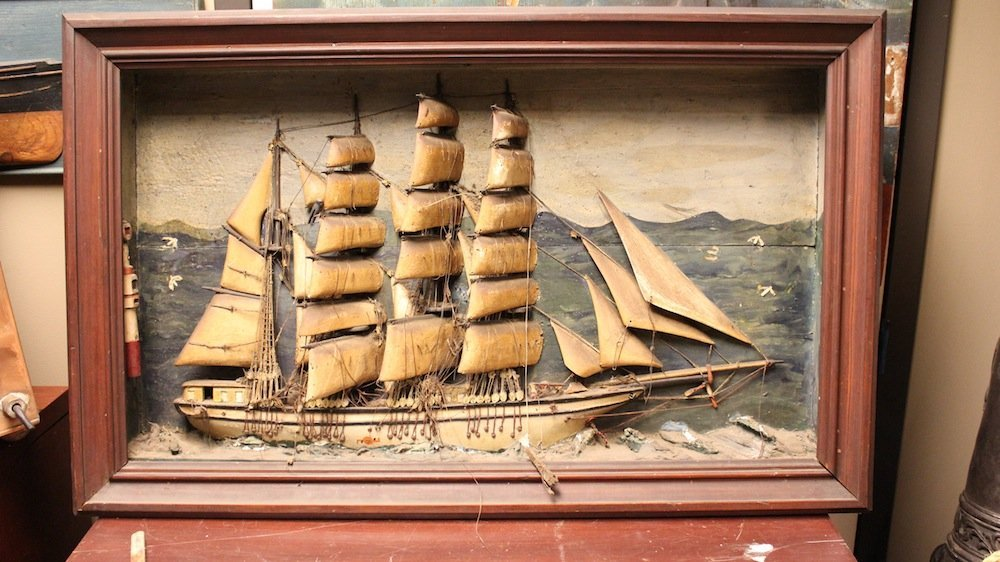 Whaling sign and ship shadow box