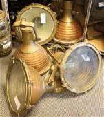 Five copper funnel spotlights