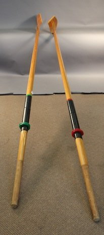 Pair of varnished crew oars
