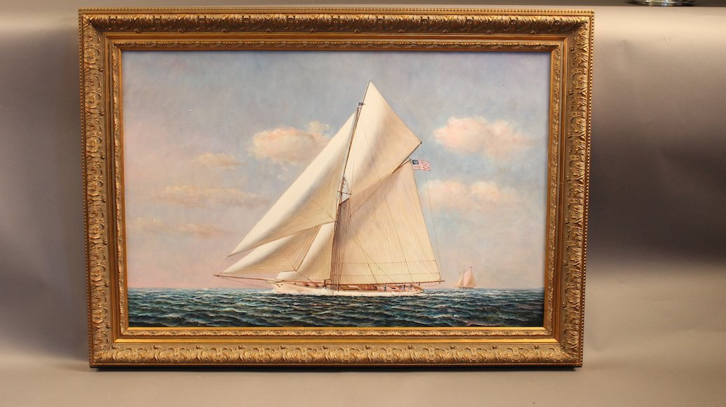 Oil on Canvas of Cup Yacht Columbia
