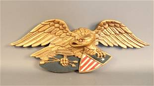 Carved eagle with spread wings