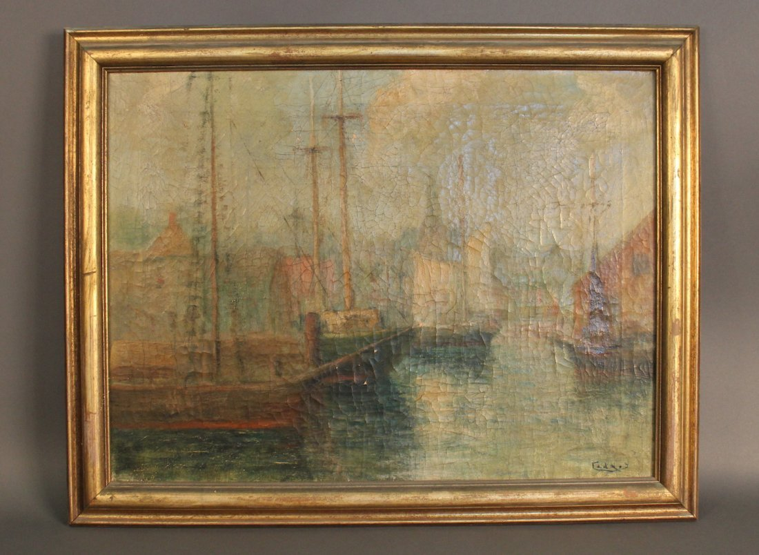 Impressionist painting of vessels at dock